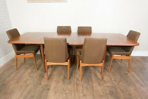 Vintage Retro Archie Shine Walnut Dining Table and Chairs - Mid Century