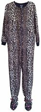 NICK & NORA Cheetah Footed Pajama Leopard Soft Fleece Cat Animal Adult Small (S)