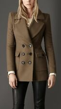 Authentic BURBERRY LONDON Cashmere Pebble Brown Pocket Pea Coat US12 Never Worn
