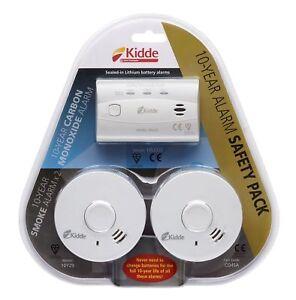 Kidde CO4SA 10 Year Alarm Safety Pack - 1 Carbon Monoxide & 2 x Smoke Alarms