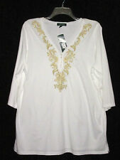 NWT Ralph Lauren Woman 1X Top White Cotton Knit Tunic Gold Embroidery V-Neck NEW