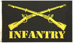 US Infantry Black Crossed Rifles Army 100D Woven Poly Nylon 3'x5' Flag Banner