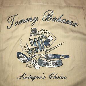 TOMMY BAHAMA Shirt Swingers Choice Paradise Casino Hawaiian SILK Tan MENS LARGE
