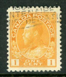 "Canada 1903-08 KGV ""Admiral"" 1¢ ""Orange Yellow Retouched  Scott #104 VFU Z579"