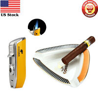 Cohiba Cigar Ashtray Holder Ceramic Holder Cigar Lighter 3 Torch JET Flame Punch