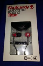 OFFICIAL NEW SkullCandy Skull Candy TITAN Red Black Ear Buds Mic 1 With Case!