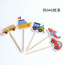 5pcs Cartoon Car Plane Ship Tractor Birthday Party Cake Topper Fruit Picks E