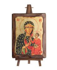 Black Madonna of Częstochowa Jasna Gora Gold Leaf Canvas Natural Wood Icon