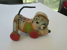 Vintage 1956 Fisher Price Nosey Dog No. 445 Wooden & Litho Pull Toy 5202