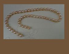 """Fresh water pearl, peach, 7 x 8mm,  15 """" string"""