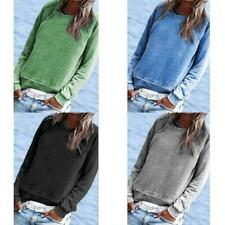 Women Casual Solid Long Sleeve Crew Neck Pockets T-Shirts Sweatshirt Blouse New