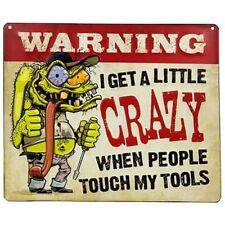 Crazy Tools Embossed Tin Signs Rustic Wall Decor Garage Cuda Charger  Corvette