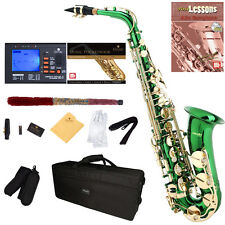 Mendini Green Lacquered Eb Alto Saxophone Sax +Tuner+CareKit+Case+Book ~MAS-GL
