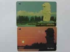 Used - 2 pcs - Merlion Singapore Telecom Phonecards