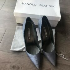Manolo Blahnik Gray Silver Glitter Anthracite BB Heels Womens Size 9.5