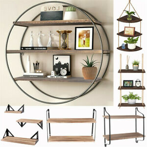 Wall Decor Shelf 2/3 Tier Floating Storage Shelves Rope Hanging / Wall Mounted