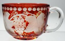 EAPG - Ruby Stained Punch Cup with Grape & Leaves Cutting.