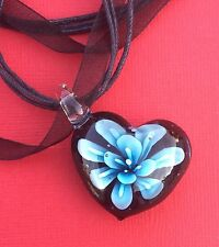NEW! Black Blue Glass Heart Pendant Ribbon Necklace Women's - Aussie Seller!
