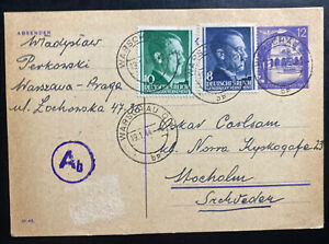 1944 Warsaw Ghetto GG Poland Germany PS Postcard Cover to Stockholm Sweden