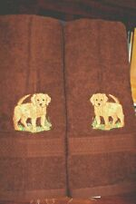 Golden Retriever Puppy Dog Breed Set Of 2 Hand Towels Embroidered