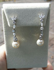CZ Dangle Earrings with White Pearls