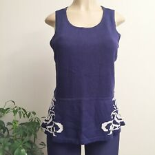 Worthington Sleeveless Knit Tank Peplum Top Blue White Sz L