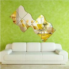 Silver Wave Art Decal Mirror Style Wall Adhesive Stickers Kid Room Decor
