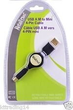 RetailPlus RC-MCCA-RA4 Retractable USB A to 4-pin USB Mini-B Cable