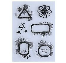 Set 6 Rubber Clear Stamps Flower Frames Summer Scrapbooking Card Making New