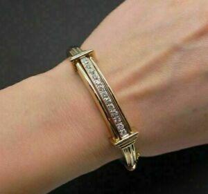 "1Ct Round Sim Diamond Men's Cuff Bangle Bracelet 8"" 14k Yellow Gold FN Free Stud"