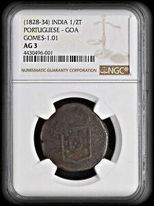 PORTUGUESE-INDIA ND(1826-1834) GOA 1/2 TANGA  NGC AG-3