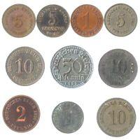 10 DEUTSCHES REICH COINS 1871-1945: GERMAN EMPIRE, WEIMAR, NAZI GERMANY WWI WW2