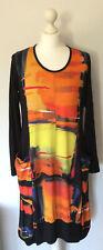 Boheme Dress Painting Print Bright Colours Loose Fit Size 14 16 18