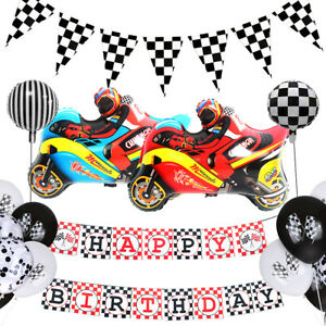Racing Theme Black And White Gera Flag Balloon Personalized Party Decoration D