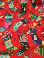 Fat Quarter, Christmas Stockings, novelty fabric, Patchwork/quilting, red SALE