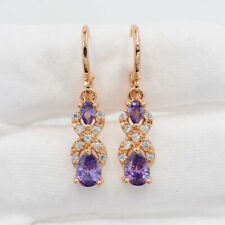 18K Gold Filled Purple Mystic Topaz Women Teardrop  Dangle Earrings Jewelry