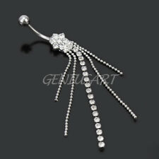 Tassels Rhinestone Navel Ring Belly Button Ring Dangle Body Piercing Jewelry