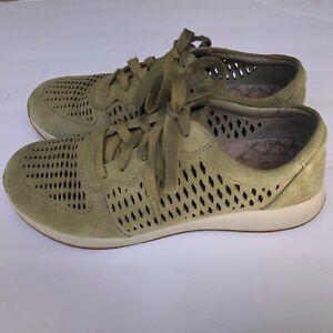 Dansko Charlie Perforated Olive Green Suede Leather Sneaker Shoe Sz 39 US 8.5-9