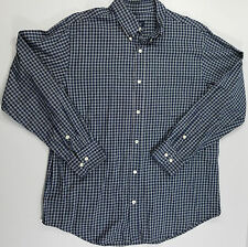 Cherokee Mens Shirt Button Front Long Sleeve Blue Plaid Casual Large (A8-114)