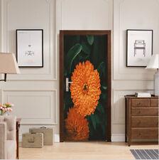3D Orange Flowers and Green Leaves Door Stickers Self-Adhesive Photo Door Mural