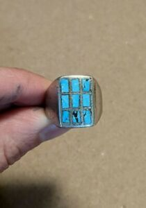 Vintage Native American Sterling Silver Mens Inlay Turquoise Ring Zuni Sz 7.z
