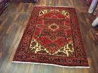 Genuine Hand Knotted Vintage Heriz Serapi Area Rug Geometric Carpet 6'8x9'11,789