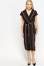 Womens Striped Cropped Wrap Jumpsuit Black/Multi Size 8