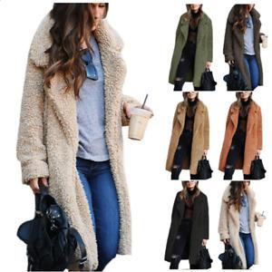 Womens Autumn Warm Teddy Bear Knee Coat Ladies Long Sleeve Lapel Jacket Outwear