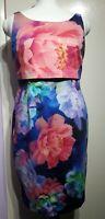 Coast Bright Blue Pink Multi Floral Print Bodycon Dress Size 16 UK Sleeveless