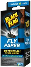 2 Pack - Black Flag Fly Paper, Catches All flying Insects - Contains 4 Traps