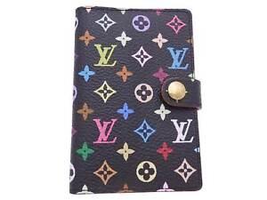 Auth Louis Vuitton Multicolor Monogram Mini Note/Agenda Cover Black - e47482f