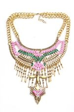 w Pink Beads Metal Details (S435) Chic Ladies Gold Chain Large Plastron Necklace