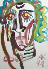 ABSTRACT EXPRESSIONIST ART  PORTRAIT GOUACHE PAINTING, SIGNED