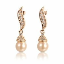 S18k Rose Gold Plated Pearl Drop Earrings Austrian Crystals